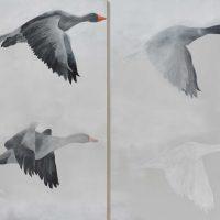 Geese Dyptich Kunstwerk Artwork
