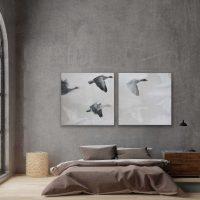 Tweeluik Ganzen Kunstwerk Artwork