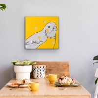 Yellow Bird Artwork Kunstwerk Schilderij Painting Kay Sleking