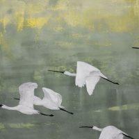 Schilderij Spoonbills Lepelaars Kunstwerk Artwork Kay Sleking