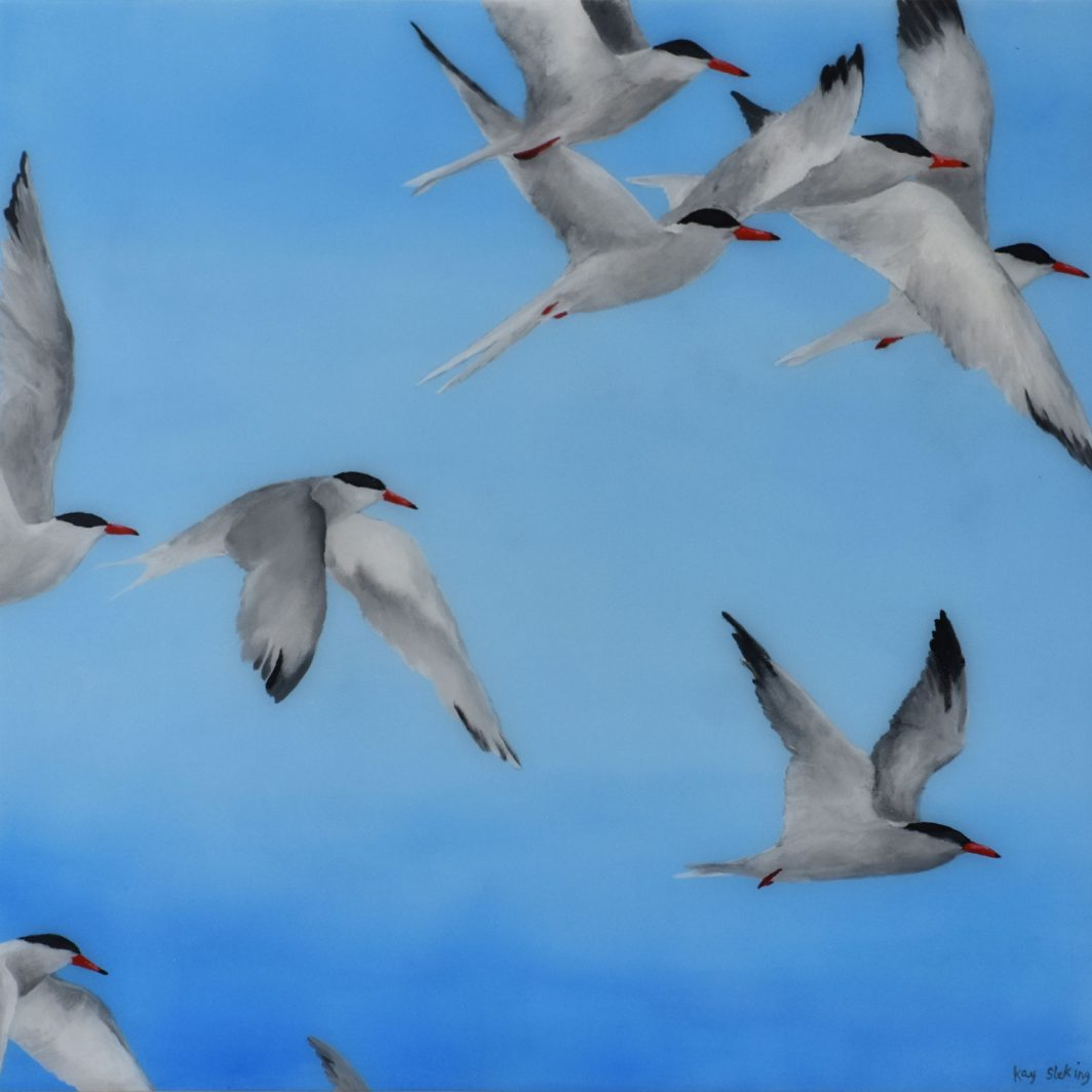 """Flight of Terns"" Artwork Kunstwerk Schilderij Painting"